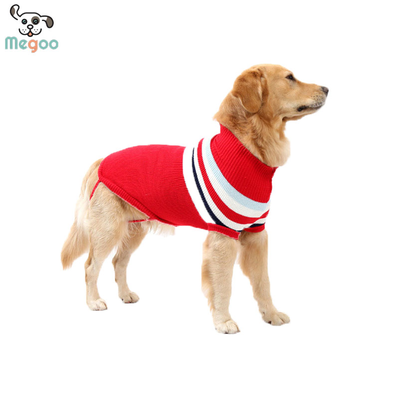 Large Dog Sweater Winter Warm Striped Pet Sweater Sleeveless For Husky