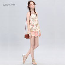 2016 new fashion sleeveless fat women flower patterns chiffon blouse