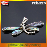 Fashion Jewelry Natural Abalone Dragonfly Abalone Shell Pendants Necklace