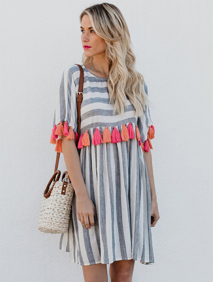 Women Casual Striped Dresses With Color Tassel