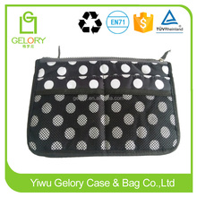 Custom polka dots design and zipper type bag organizer bag in bag