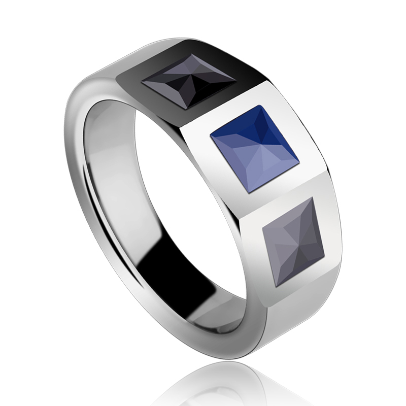 2015 New Arrial Unisex High Polished Tungsten Wedding Ring Inlay Black/ Blue Hi-Tech Ceramic Size 7-11