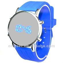 Blue light Mirror LED Silicon watch Round face