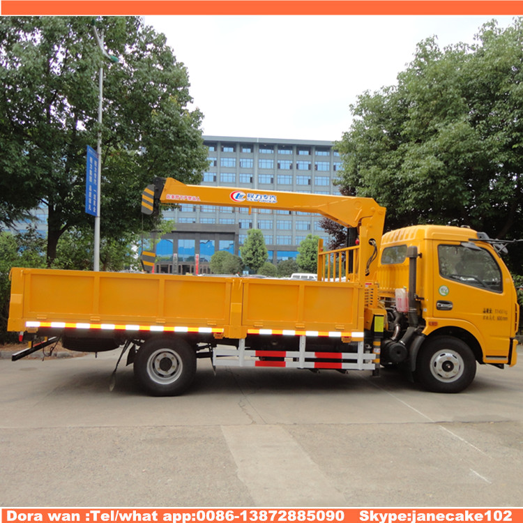 Dongfeng 6 wheeler 2 ton 3 ton unic hydraulic crane telescopic boom truck dumper tipper mounted crane for sale