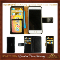 PU leather flip man phone pouch for iphone 4 5 6 6plus with back card holders wholesale