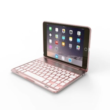 Wireless Bluetooth Aluminium Keyboard with 7 Colours Backlit Folio Smart Case Stand Cover Shell For Apple iPad Mini 4