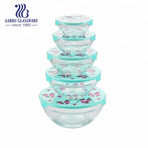 5pcs set GB1401/XCH Glass Salad Bowl with Plastic Decals Lid
