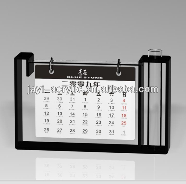 2016 hot sale office acrylic manufacture table desktop calender