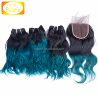 Top Quality Wholesale Price Ombre 1B/green Virgin Human Hair three bundles with Closure Peruvian Ombre Hair Weave