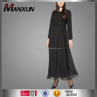2018 Fashion Design Muslim Women Black Jubah Muslim Abaya Isalmic Clothing Long Sleeve Dubai Maxi Dress