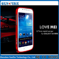 Aluminium bumper case for galaxy s4 mini i9190, 0.7mm love mei bumper case for galaxy s4 mini