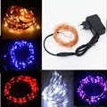 12V Waterproof 10M 100 LED Copper String Light Outdoor Christmas Wedding Party Fairy Decoration Lights + Power Adapter