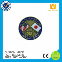 Friendship country flag soft enamel metal challenge coin