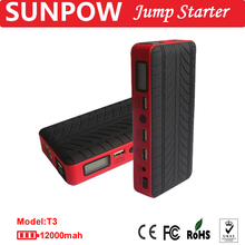 SUNPOW multi-function auto emergency start powerbank jump starter cables with portable jump starter LED light