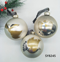 New design 8cm silver glass ball with decals Christmas tree decoration