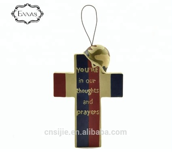 Resin cross American flag hanging with flag