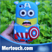3D Cute Soft Silicone Leather Phone Cartoon CPT America Case For iPhone 5 5S