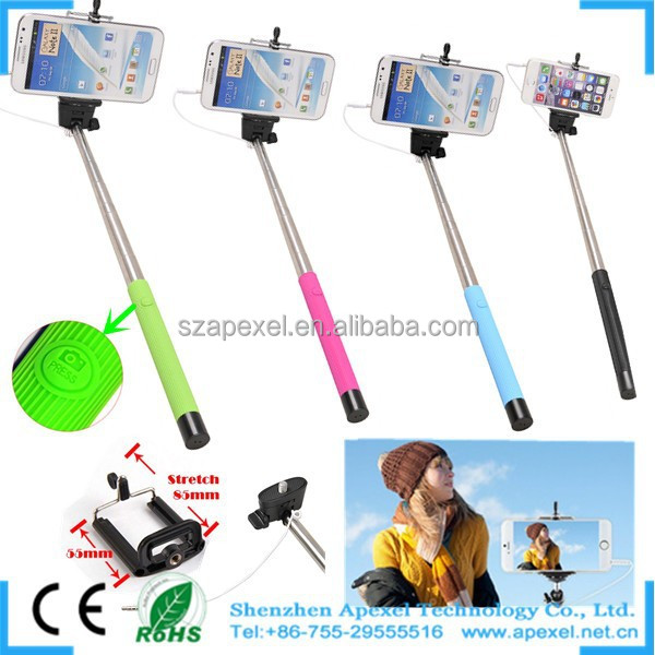 2014 new design Self Portrait Selfie Handheld Stick Monopod OEM Cable Take Pole for Samsung Galaxy s3 s4 s5