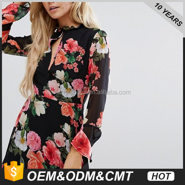 Missguided Petite Keyhole Floral Skater Dress