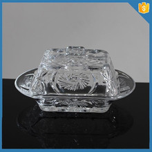Hand pressed carved clear beehive clear glass butter dish with lid