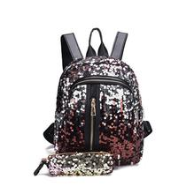 2019 wholesale hottest bling cartoon unicorn girls glitter school bags mochilas fashion magic shining sequin backpack set