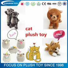 high quality custom stuffed baby talking small plush cat toy