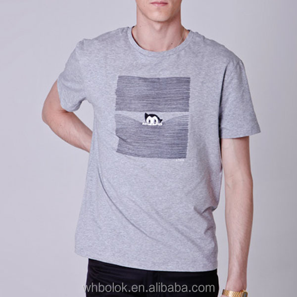 Custom Mens fashion printed short sleeve cotton grey t shirt basic style t-shirts