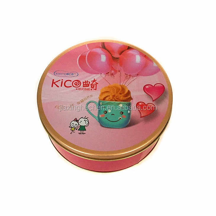 Customized round biscuit tin can