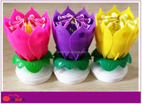 Magical opening flower musical best happy birthday singing candle