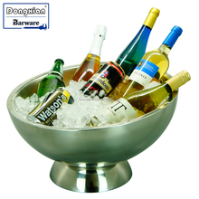Double Walled Ice Bucket Wine Champagne Cooler Chiller Large Stainless Steel 6 Bottle Holder