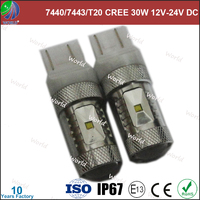 Super bright 7440/7443/T20/P21/5W,C-REE 30W with lens,12V DC/24V DC,12v 8w led car bulb