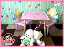 wooden table chair set for kids