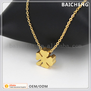 18k gold stainless steel jewelry Clover pendant jewelry Good luck charm pendant