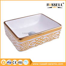 New design countertop ceramic gold hairdressing sinks