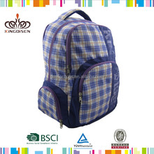 17 Inch Blue Plaid Sport Trendy High School Book Bag/ Middleschool Backpack Multi Compartment Shoulder Bag