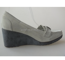 Grey elegant wedge heel shoes for ladies with strap buckle