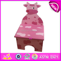 Pink color wooden stool toy for kids,cute & lovely wooden toy chair for children,hot sale wooden stool with cow picture WJ278095