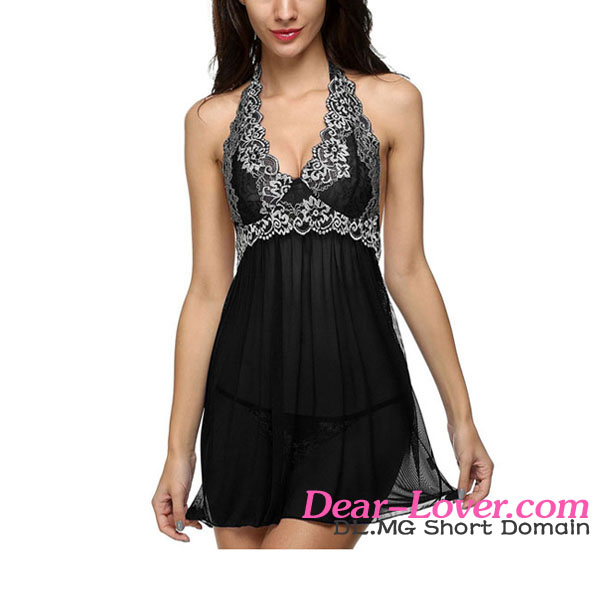 Chic Lace Patchwork Black Halter Sleepwear Lingerie Set sexy playboy babydoll lingerie