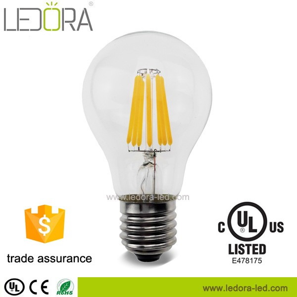 Hot sale UL certificate All glass no plastic 2200k 2700k 110v 120v Dimmable Filament LED Bulb E26
