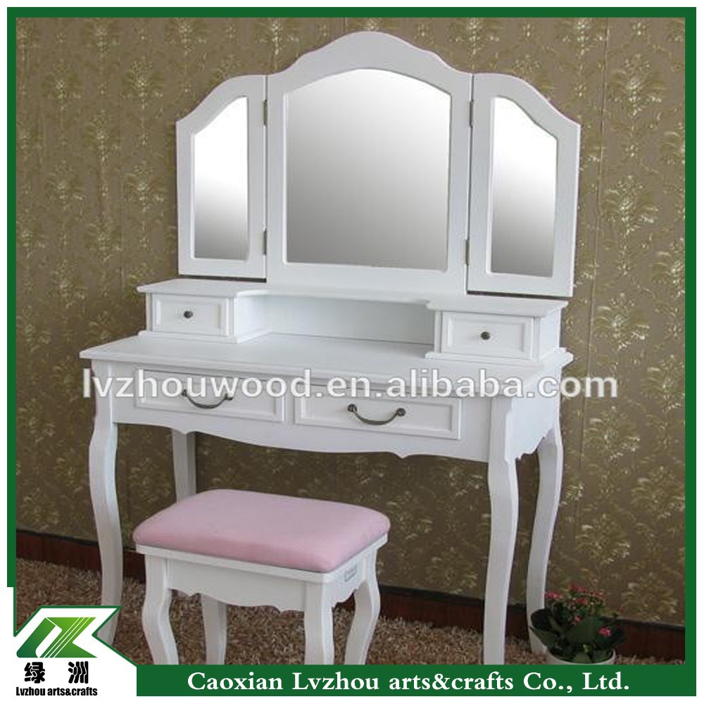 french style solid wood dressing table with stool and mirrors