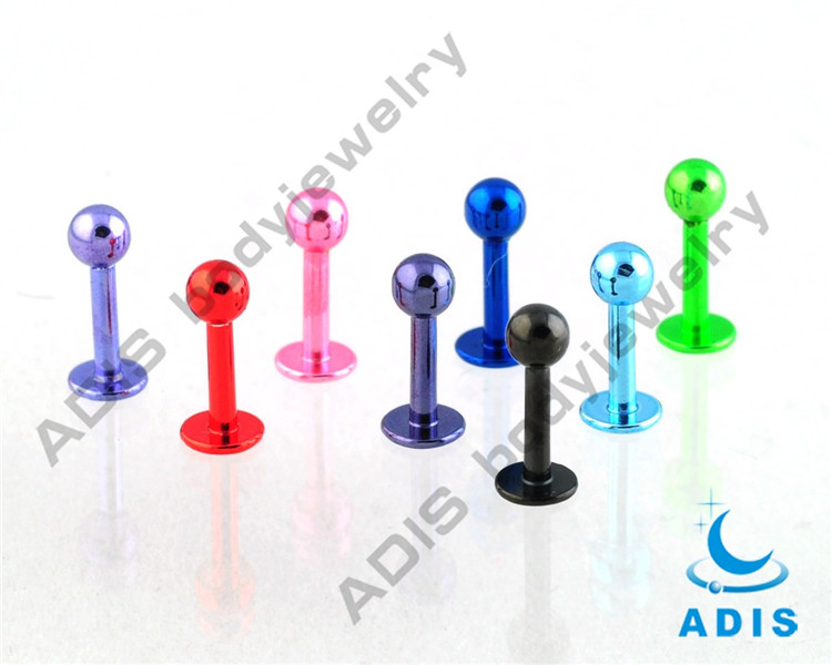 surgical steel cheap wholesale fake jewelry unique piercing anodized labret