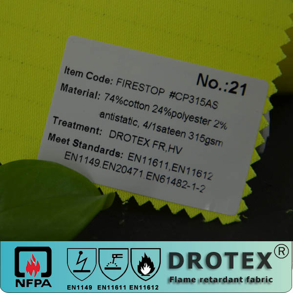 oeko-tex 100 certificate cvc flame resistant anti-static Hi-visibility fabric for safety vest.