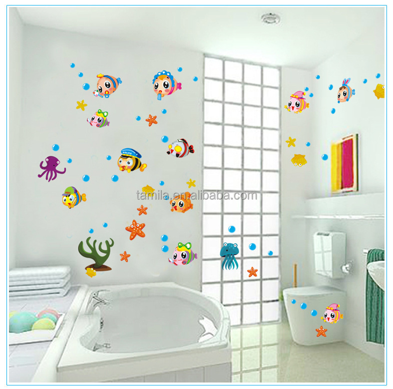 Colorcasa exterior wall decoration stickers fishes in the sea world wall stickers