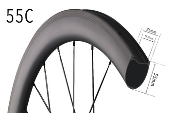 ICAN New Project 55C Carbon clincher bike wheel tubeless ready