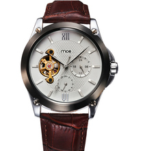 super cool China made classic rivet leather steel skeleton mechanical watches men