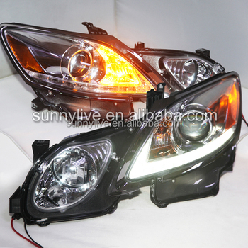 Chrome Housing headlight for Lexus GS300 GS350 GS430 GS450 LED Head Lamps with Projector Lens 2006-2011 SN