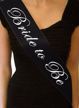 Bridal Shower Party Supplies Satin Black Bride To Be Sash LP3151