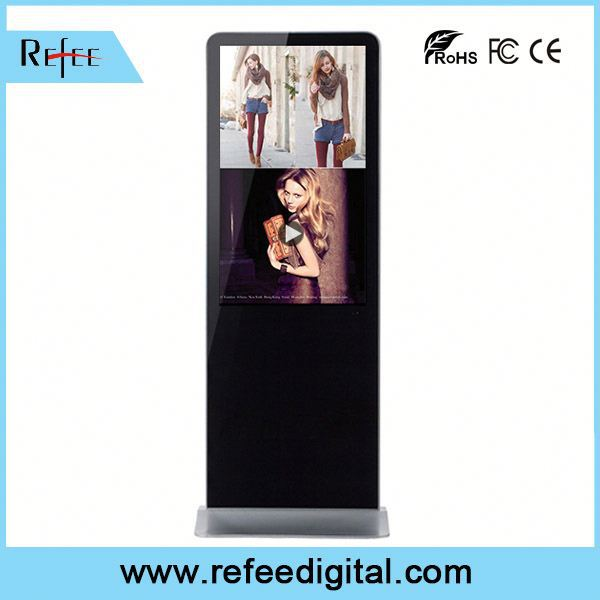 Refee insert SD card and USB port,touch screen option,photo frame exhibition video floor stand