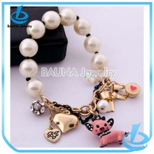 Fashion custom white beaded logo jewelry small dog/fox animal pearl alloy bracelet