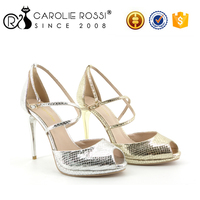 steel heel gold and silver sexy fancy bridal heel sandals